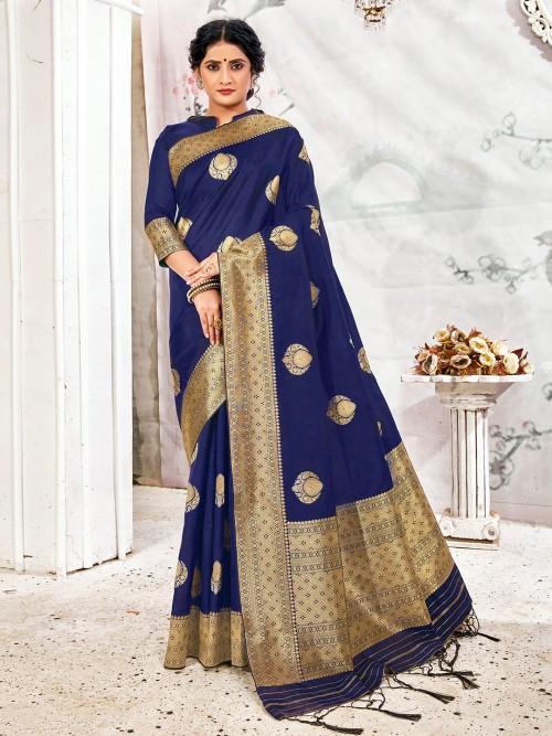 Latest Royal Blue Saree For Reception