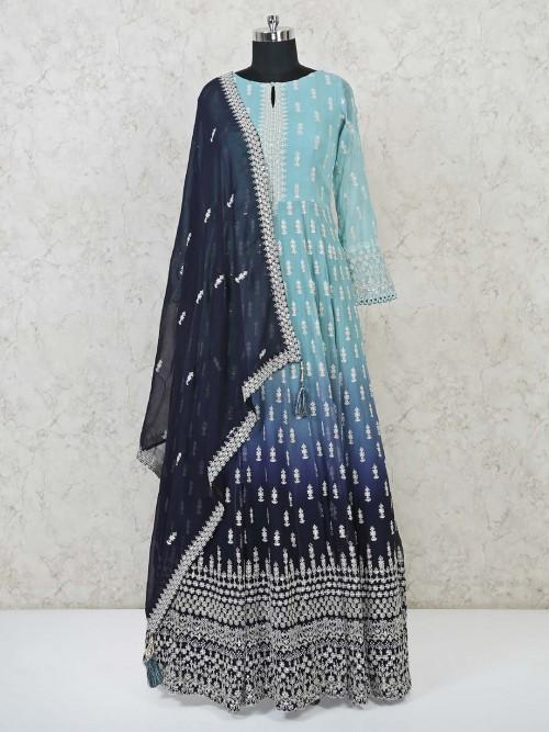 Latest Sea Green Aanrkali Suit For Wedding