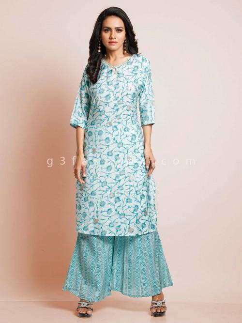 Latest Sky Blue Cotton Suit In Cotton
