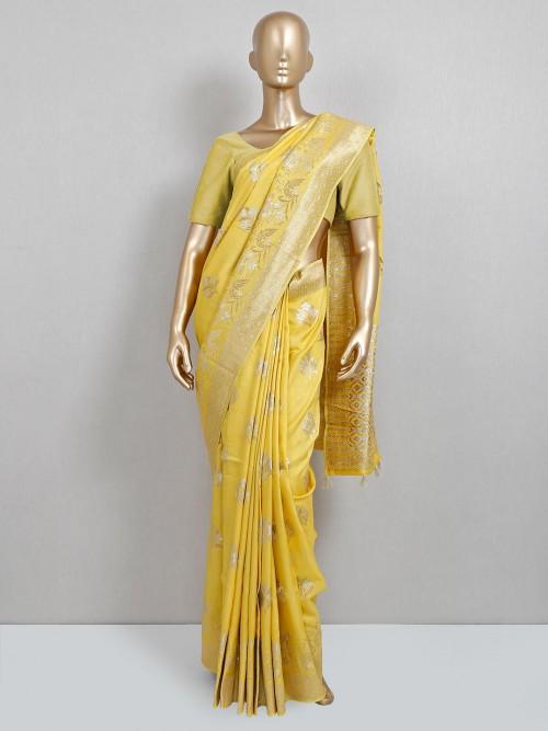 Latest Yellow Dola Silk Wedding Wear Saree