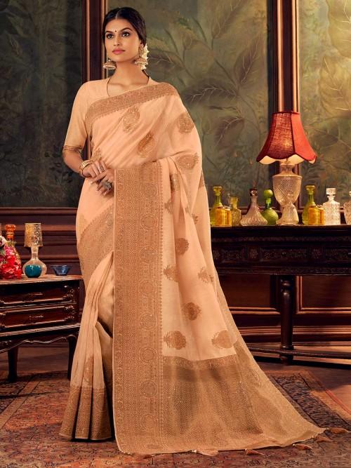 Latest Zari Weaved Peach Silk Saree