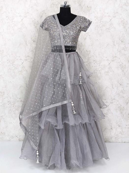 Layer Style Grey Hue Tissue Silk Fabric Lehenga Choli