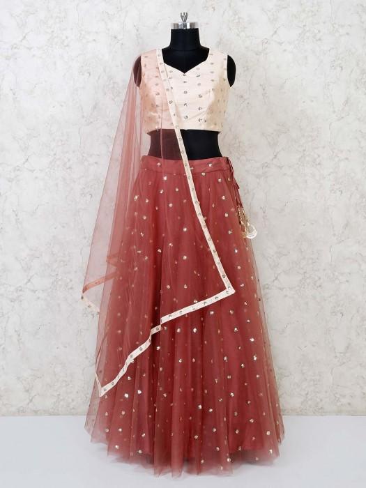 Lehenga Choli In Cream And Brown Net Fabric