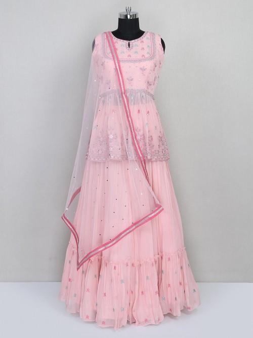 Lehenga Style Wedding Wear Pink Suit