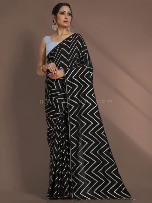 Leheriya Black Color Party Function Saree