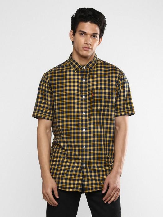 Levis Navy And Yellow Checks Shirt