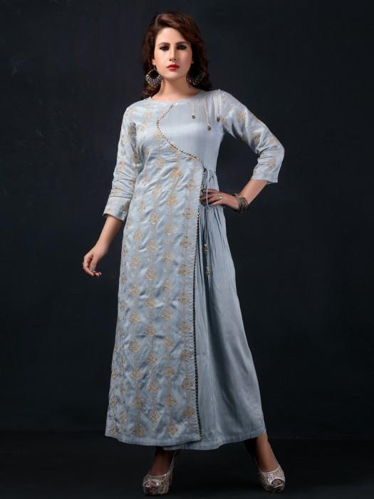 Light Blue Cotton Silk Long Kurti