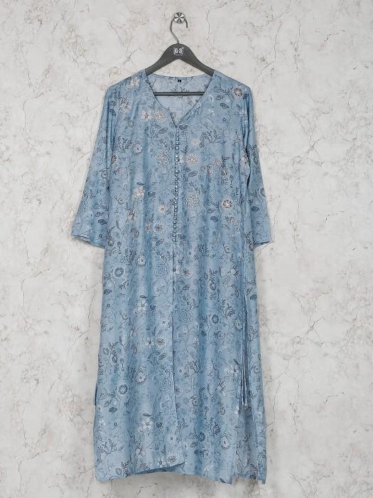 Light Blue Cotton Silk Printed Kurti