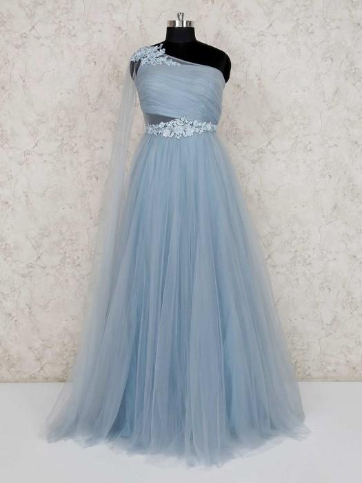 Light Blue Floor Length Designer Gown
