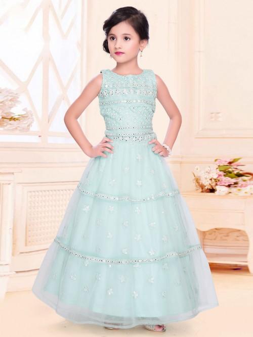 Light Blue Net Lehenga Choli For Girls