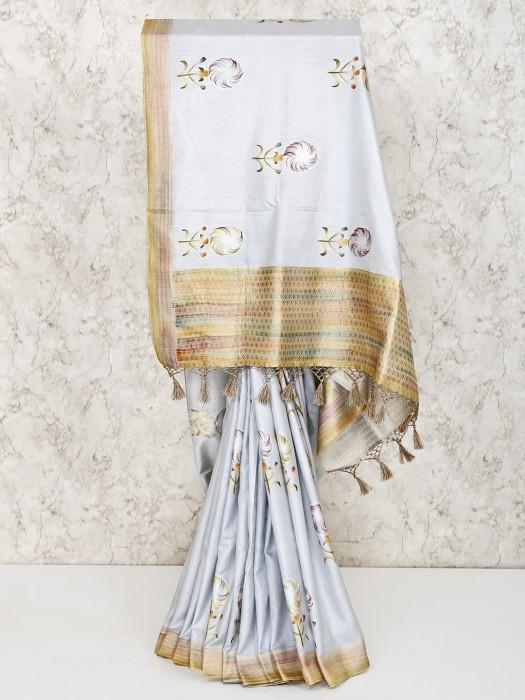 Light Blue Silk Saree For Wedding