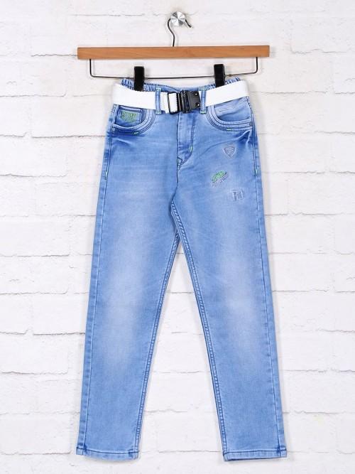 Light Blue Washed Denim Jeans For Boys