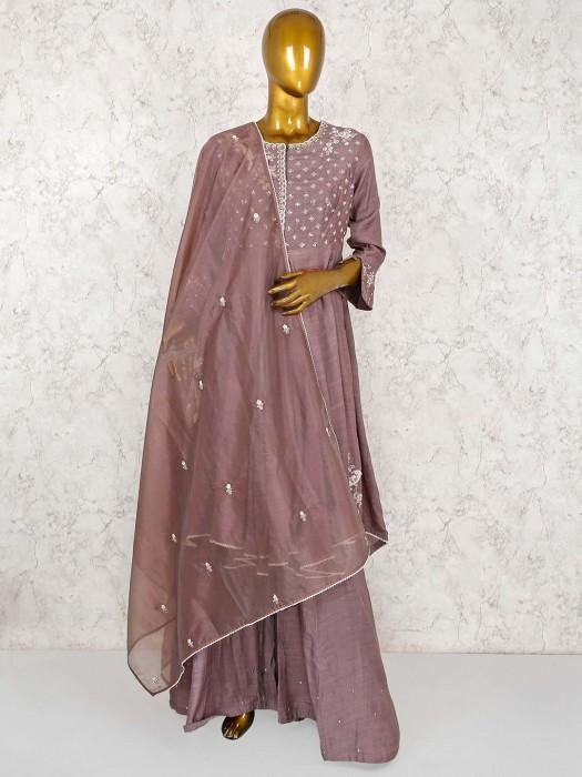 Light Brown Cotton Silk Designer Palazzo Suit