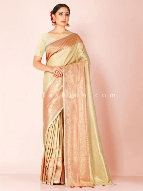 Light Green Art Kanjivaram Silk Saree With Matching Pallu