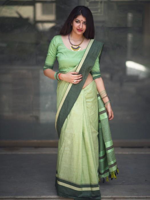 Light Green Color Cotton Fabric Saree