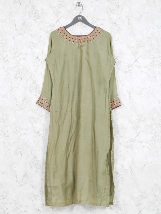 Light Green Colored Festive Wear Kurti