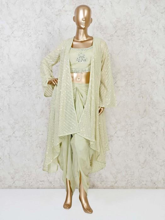 Light Green Cotton Silk Dhoti Suit