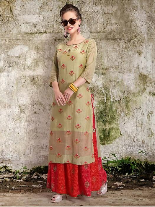 Light Green Festive Punjabi Sharara Suit In Cotton Silk