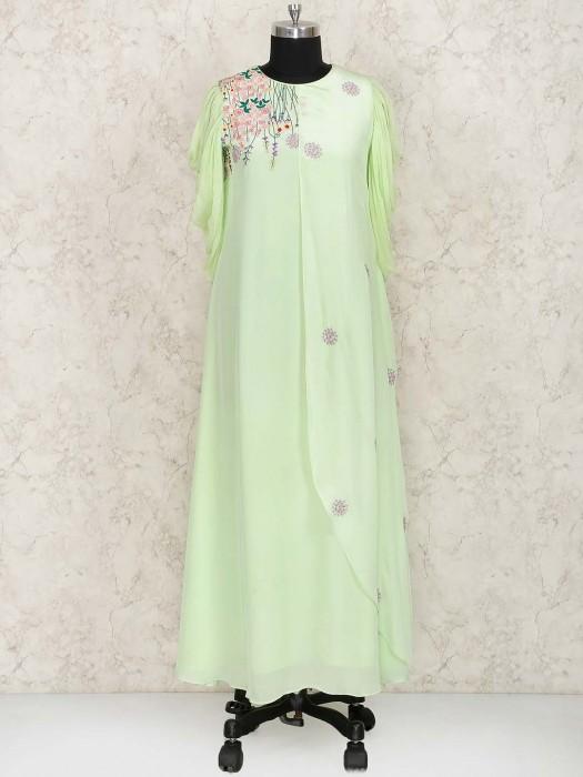 LIght Green Hue Georgette Hue Kurti