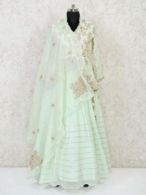 Light Green Ljacket Style Ehenga Choli For Wedding Reception
