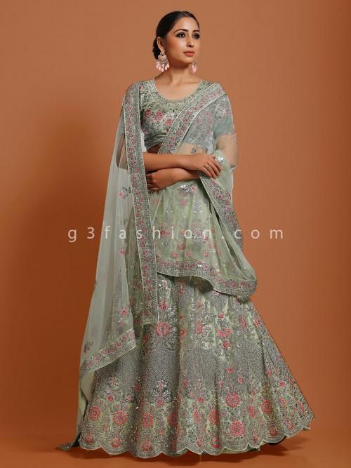 Light Green Net Semi Stitched Lehenga Choli