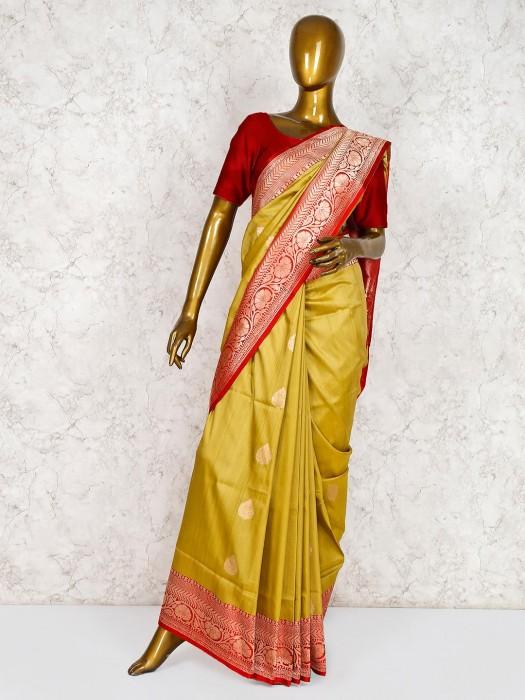 Classic Mustard Yellow Saree In Banarasi Silk Fabric