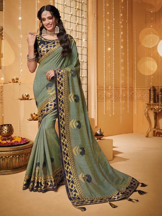 Light Green Saree In Raw Silk