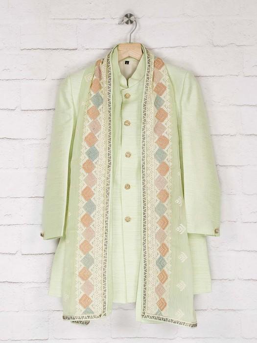 Light Green Solid Raw Silk Indo Western