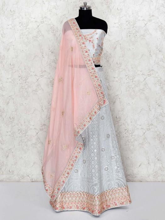 Light Grey Silk Fabric Wedding Semi Stitched Lehenga Choli