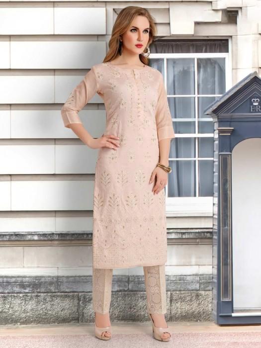 Light Peach Cotton Silk Punjabi Suit With Bottom