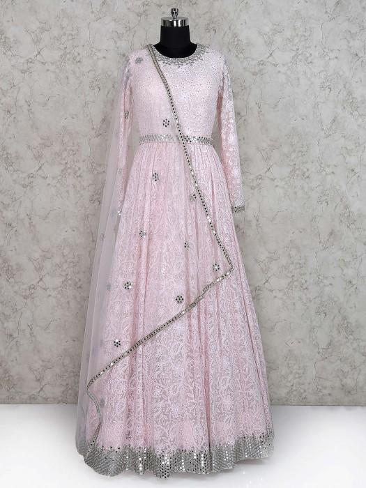 Light Pink Wedding Wear Floor Length Anarkali Salwar Suit