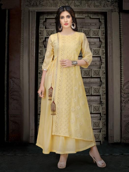 Light Yellow Cotton Designer Kurti