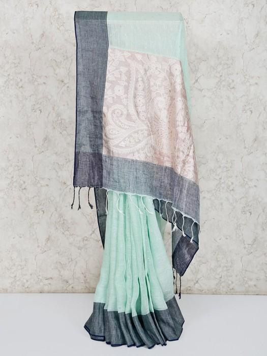 Linen Aqua Thread Work Saree