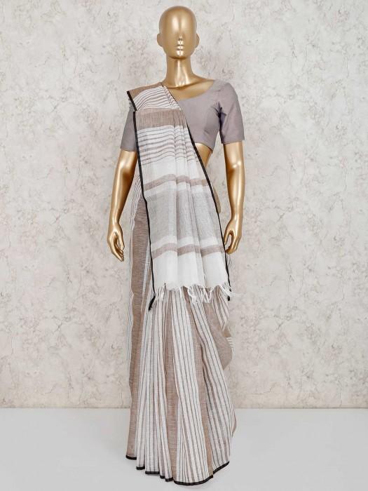 Linen Beige Stripe Saree