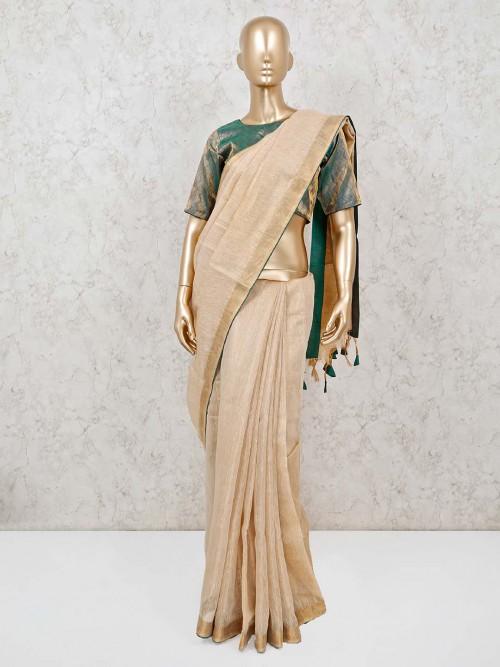 Linen Beige Zari Weaving Saree With Ready Made Blouse