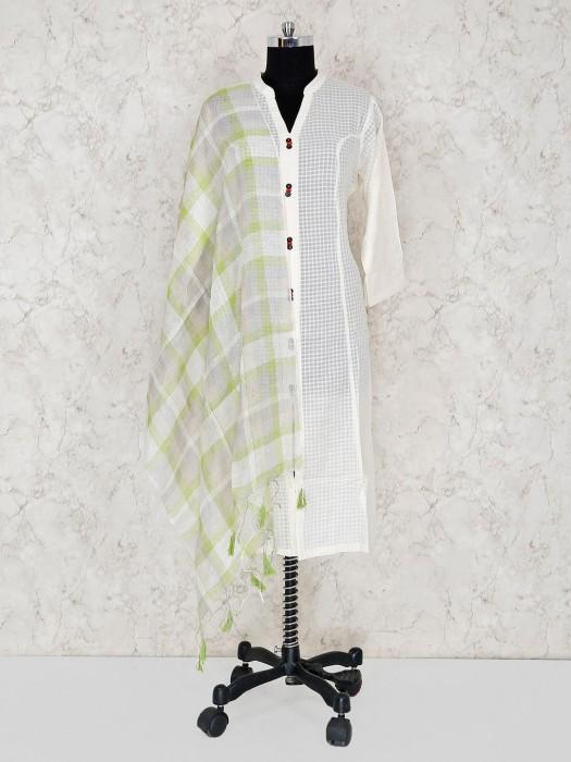 Linen Checks Grey Dupatta