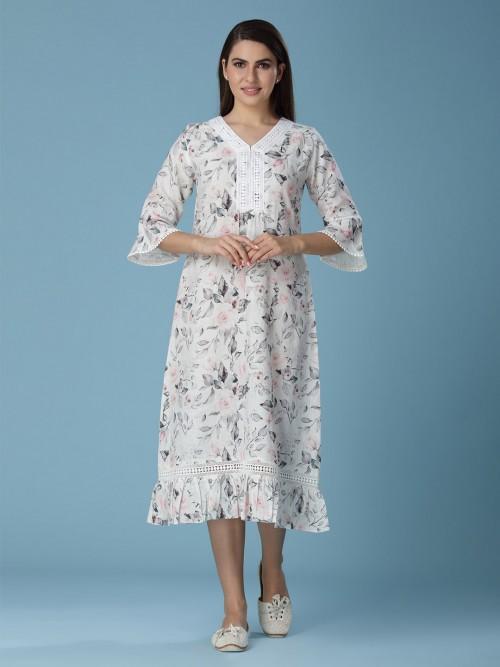 Linen Kurti In Printed Design Off White Color