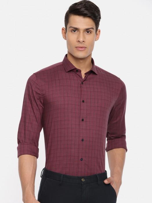 Louis Philippe Maroon Checks Slim Fit Shirt