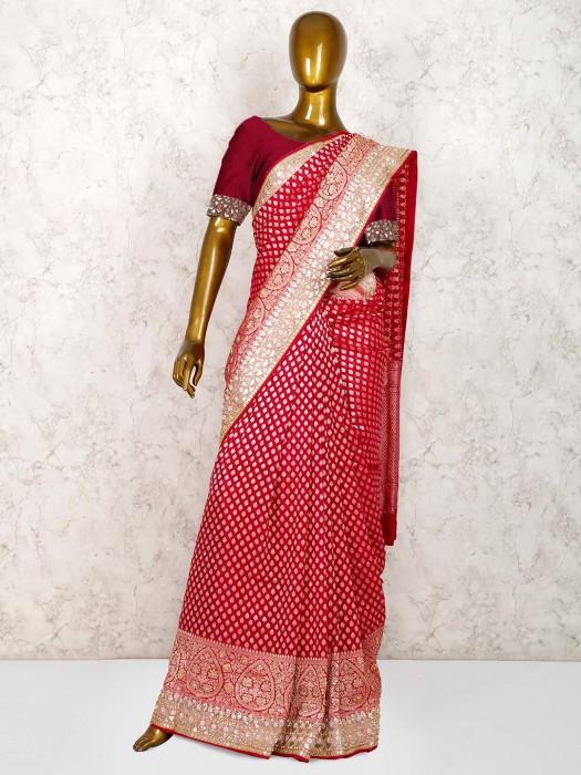 Lovely Magenta Color Banarasi Georgette Saree