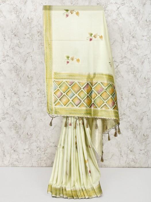 Lovely Pista Green Silk Saree