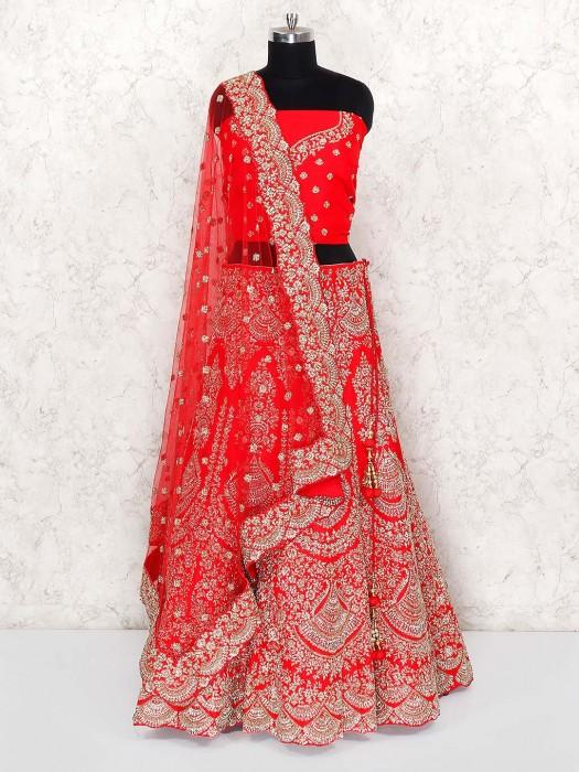 Lovely Red Color Bridal Silk Semi Stitched Lehenga Choli