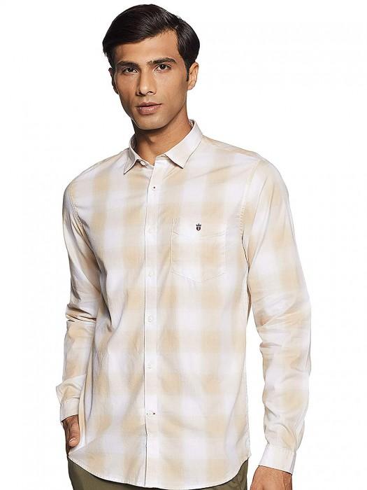 LP White And Beige Checks Slim Fit Shirt