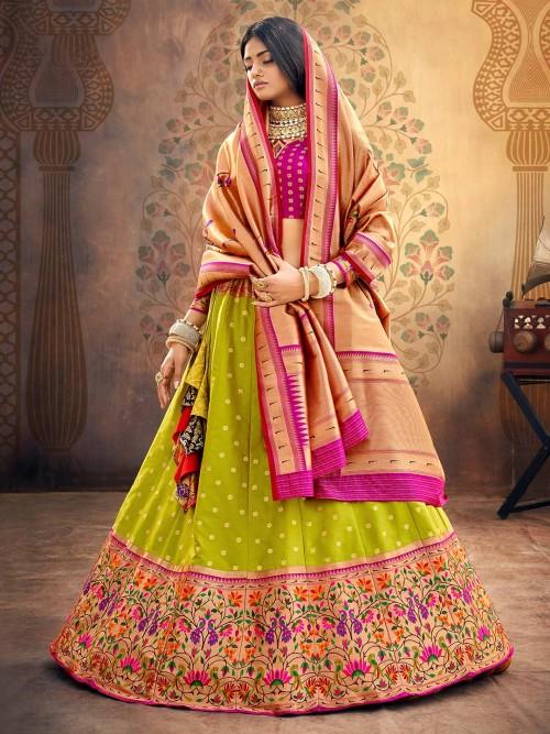 Magenta And Green Colorfull Thread Woven Semi Stitched Lehenga Choli