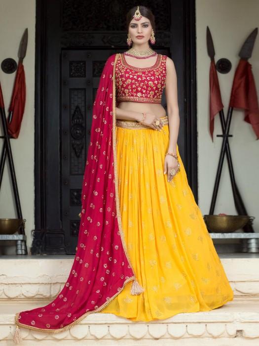 Magenta And Yellow Lehenga Choli For Wedding