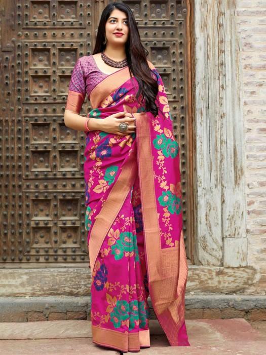 Magenta Banarasi Silk Fabric Saree