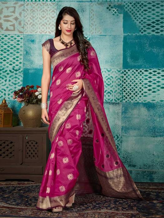 Magenta Banarasi Silk Pretty Saree