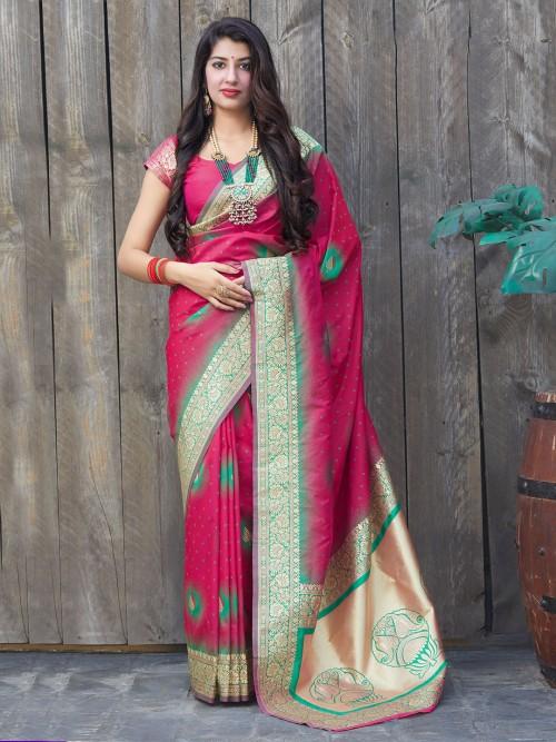 Magenta Banarasi Silk Wedding Wear Saree