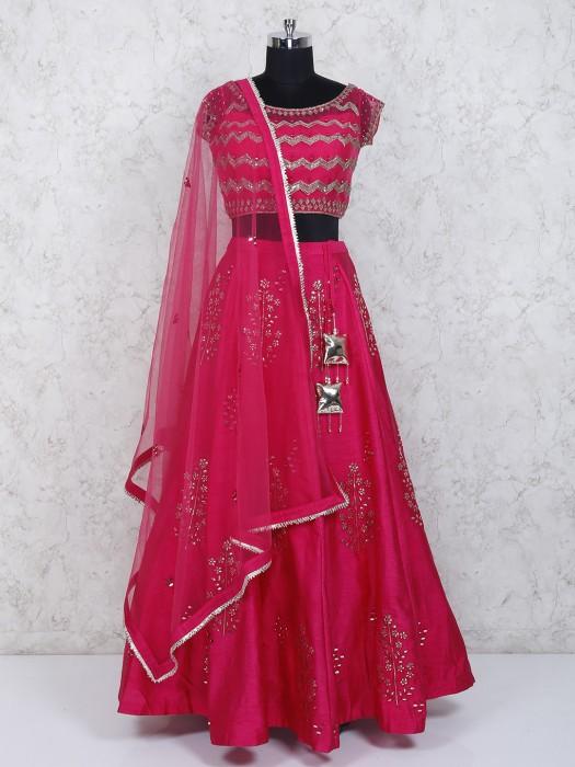 Magenta Color Net Lehenga Choli For Wedding