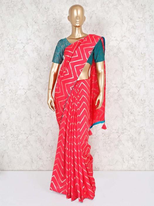 Magenta Cotton Silk Beautiful Leheriya Style Saree