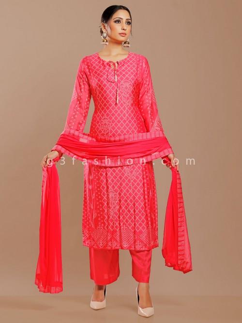 Magenta Cotton Silk Printed Punjabi Pant Suit